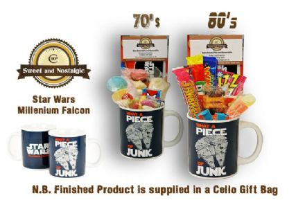 Star Wars Millennium Falcon Mug with/without a hyperspace portion of 70's or 80's Sweets